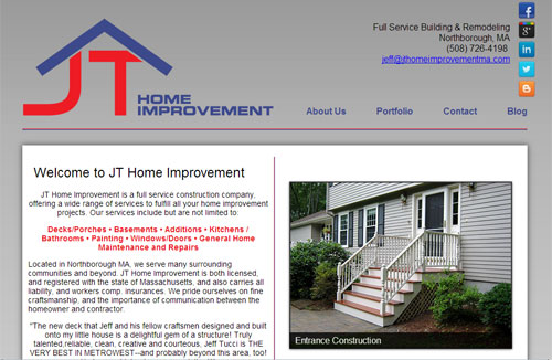 Website Design Worcester Massachusetts Jt Home Improvement
